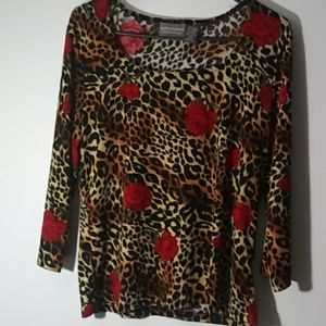Leopard print blouse w roses size large